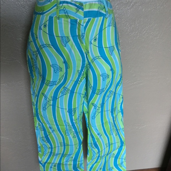 Lilly Pulitzer Capri Pants 4 Fish Swirl Print EUC